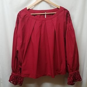 Free People- Wishing Well Red Dolman Sleeve Blouse